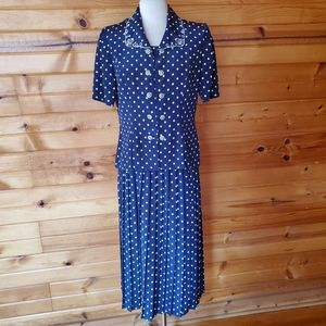 1980s Leslie Fay Navy & White Polka Dot Skirt Set